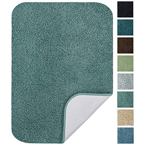 Maples Rugs 17' x 24' Non Slip Washable Bath Mat [Made in USA] Soft & Quick Dry for Vanity and Shower Seafoam