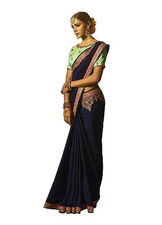 Amazoncom Indian Designer Royal Blue Colored Cyona Silk Saree With