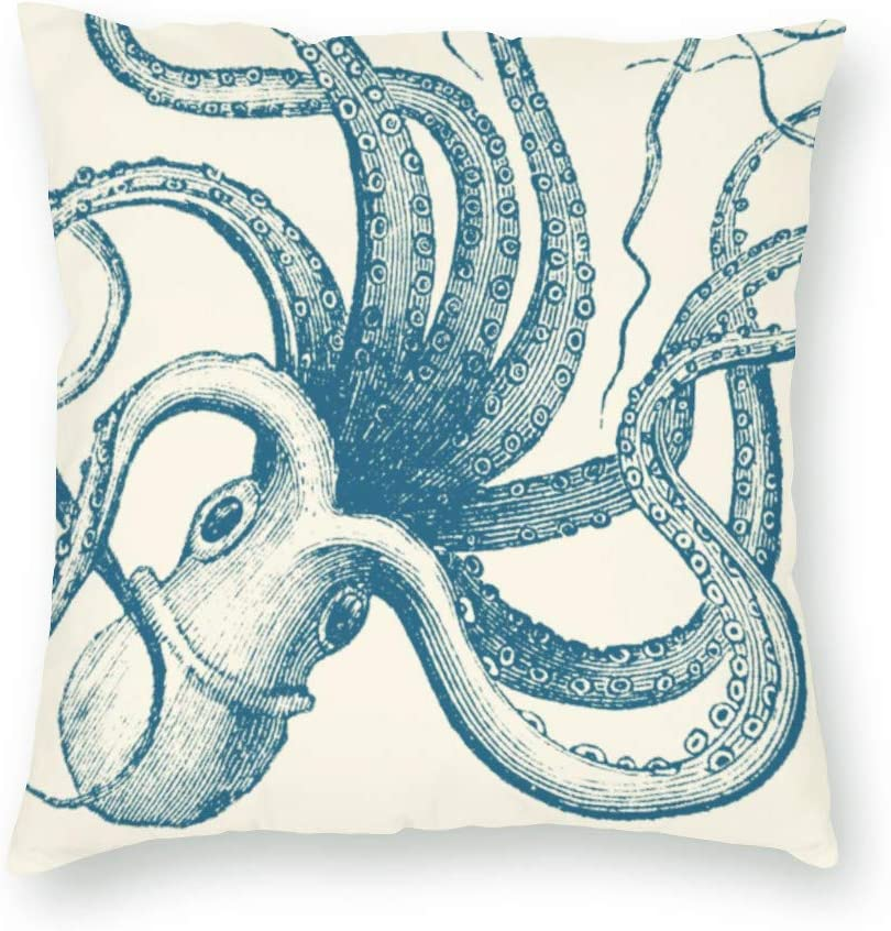 QoGoer Octopus Decor Throw Pillow Covers, Cute Giant Ocean Animal Kraken Square Pillow Cases Soft Velvet Cushion Covers for Couch Sofa Car, 18 x 18 Inch