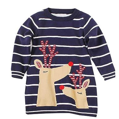 45c35409e0b66 Susenstone Robe Pull Tricot A Rayures Enfant BéBé Fille Mignon Mode Cartoon  Wapiti Imprimé NoëL Carnaval