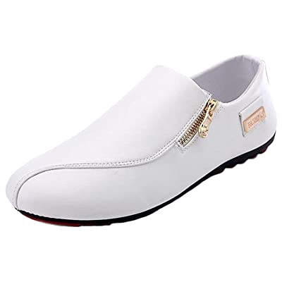 WUIWUIYU Mens Casual Fashion Zipper Oxfords Slip Ons Loafers Comfort Driving Flats Moccasins Shoes | Loafers & Slip-Ons