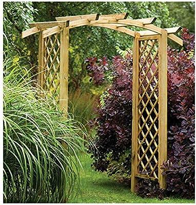 Génova arco Diagonal, enrejado de celosía parte superior curvada jardín arco: Amazon.es: Jardín