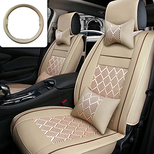 Car Seat Cover Cushions FLY5D 10Pcs PU Leather Ice Silk Auto Car Front Rear Seat Covers Full Sets Universal Fit For 5 Seats Vehicle Car Models (Beige)
