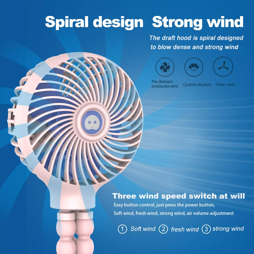 Mini Handheld Stroller Fan, HomoDesign Personal Portable Baby Bed Fan with Flexible Tripod, USB Rechargeable Desk Fan Adjustable 3 Speeds for Camping/Traveling/Office/BBQ/Gym (Pink) by HomoDesign (Image #2)