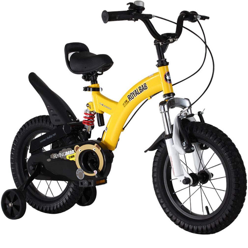 Gelb 12inch LHY RIDING Kinderfahrrad Kinderwagen Stoßdämpfer Baby Fahrrad Mountainbike 3 Jahre -9 Jahre 14 Zoll Gelb + Helm + Schutzausrüstung