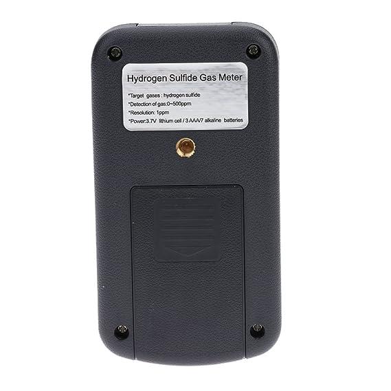 KKmoon Computadora de mano Gas de sulfuro de hidrógeno H2S detector de medidor de medición de la temperatura pantalla LCD Alarma Valor settable: Amazon.es: ...