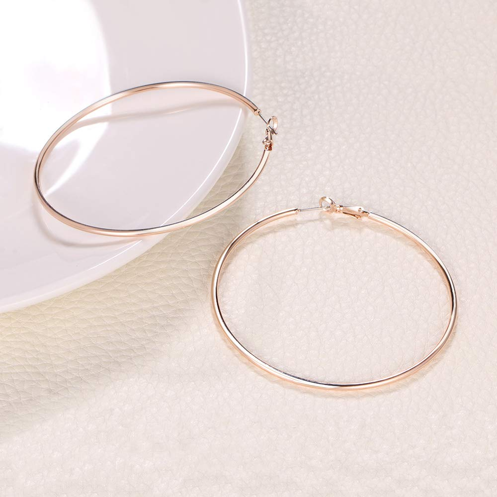 Plated Rose Gold Rounded Tube Hoop Earrings