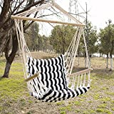 Bestmart INC Hanging Rope Quilted Hammock Swing Chair Patio White/Black Cushion Seat Indoor/Outdoor Swing