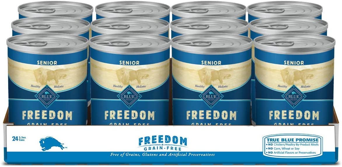 Blue Buffalo Freedom Grain Free Natural Senior Wet Dog Food Chicken 12.5oz cans (Pack of 12)