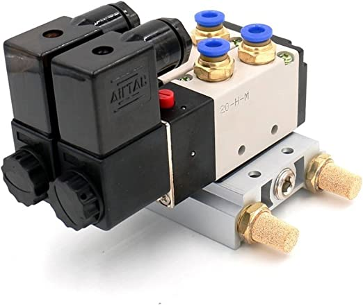 Woljay Sol/éno/ïde Electrovanne Pneumatique PT 1//4 Soupape dair 4V210-08 DC 12V 5 Voies 2 Position Base Quick Fittings Muffler Set