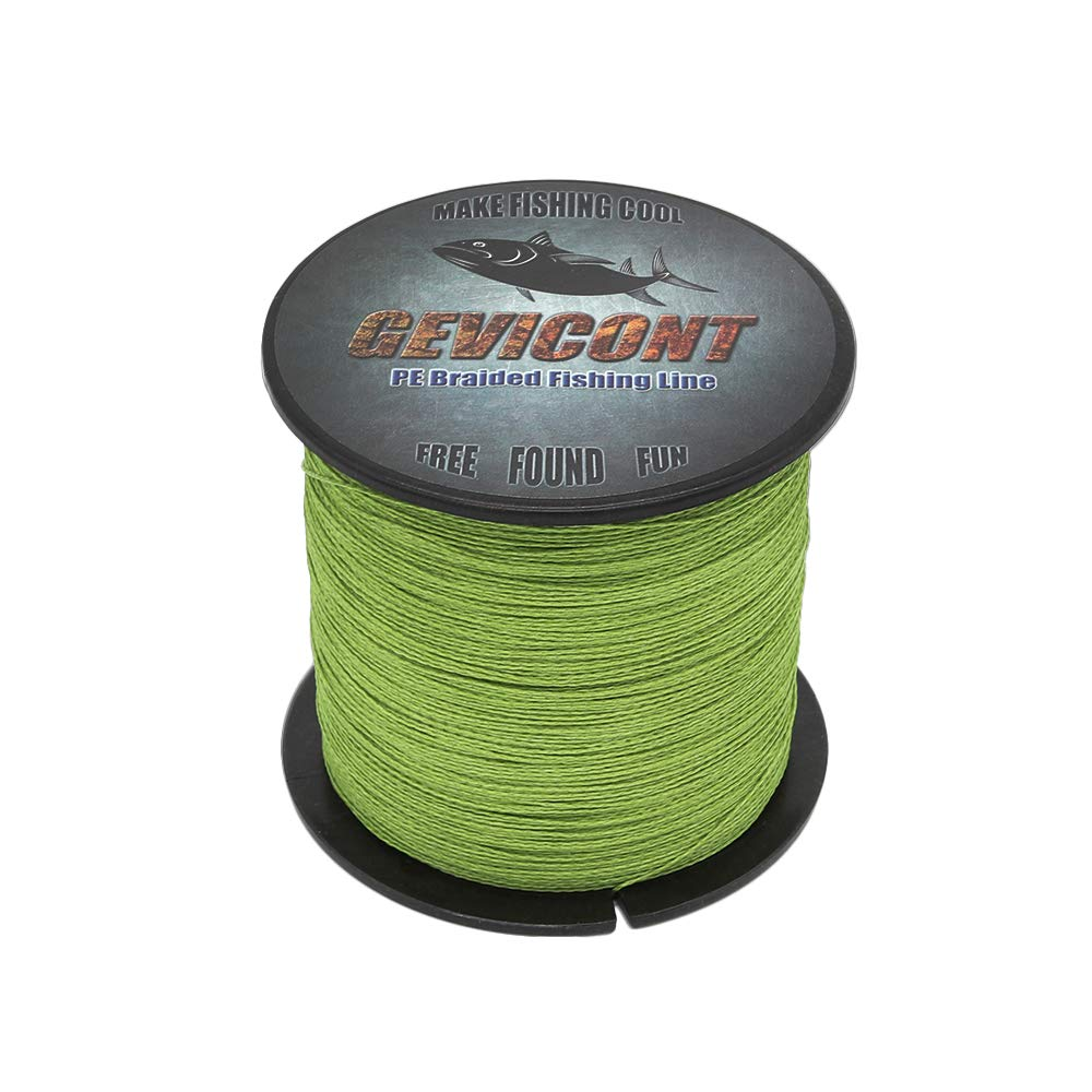 GEVICONT Braided Line high Power Stealth Superline Weaves PE 4X Strands 109yards 10lbs-100lbs Multiple Colors Available for Salmon Fishing (Army Green, 109Yds(100m)-6lb(2.7kg)-0.08mm)