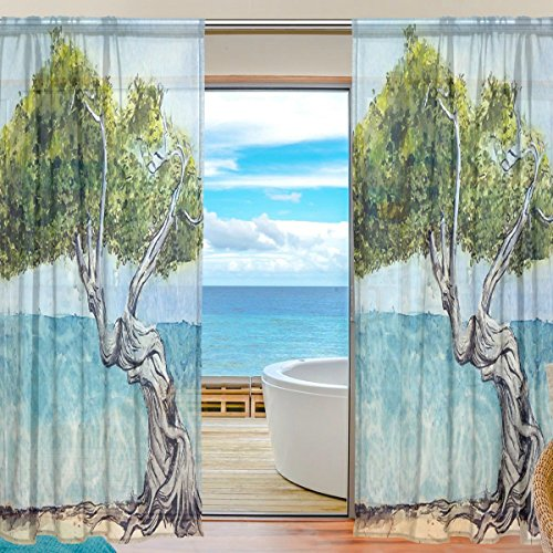 i Tree Window Room Decoration Sheer Curtains Polyester Gauze Curtain Drape for Bedroom, Living Room,55x84 inches, 2 Panels (Diva Sheer)