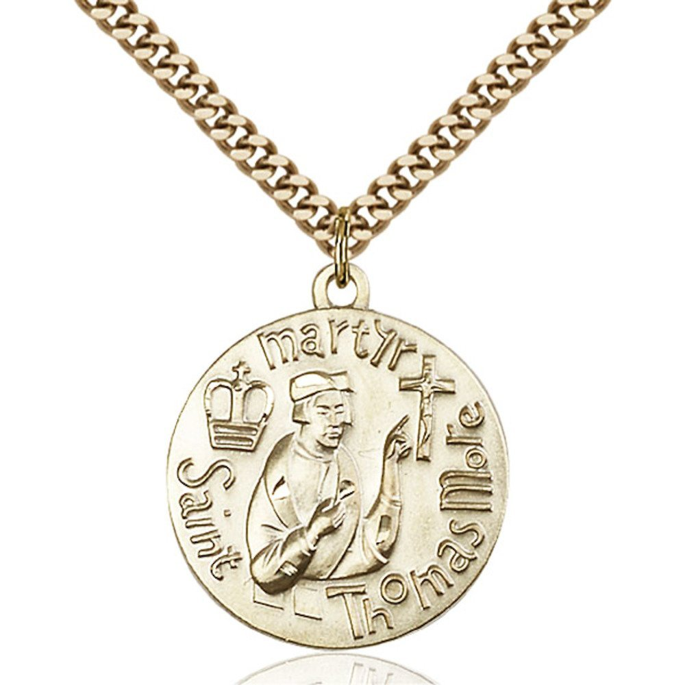 Gold Filled St. Thomas More Pendant 1 x 7/8 inches with Heavy Curb Chain by Bonyak Jewelry Saint Medal Collection