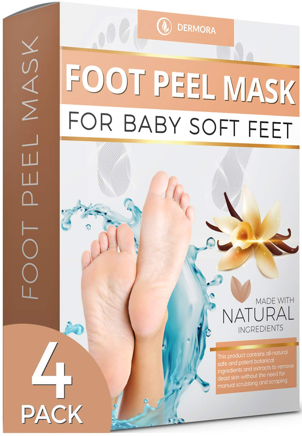 Vanilla Foot Peel Mask - 4 Pack - For Cracked Heels, Dead Skin & Calluses - Make Your Feet Baby Soft & Get Smooth Silky Skin - Removes Rough Heels, Dry Skin - Natural Treatment