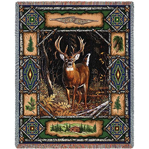 Pure Country Weavers - Deer Lodge Cabin Hunting Decor Woven Tapestry Throw Blanket with Fringe  USA Cotton 72x54