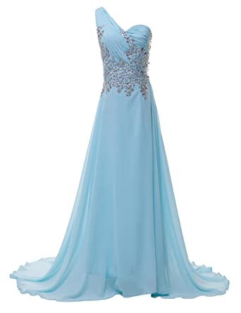 Grace Karin Bridal Gown Blue One Shoulder Maxi Prom Dresses UK Size 18