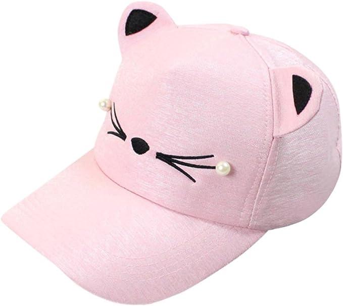Kid Boy Girl Baseball Caps Cat Ears Cartoon Embroidery Pearls Cute Casual Caps