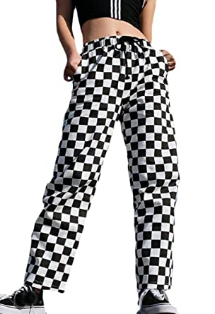 d0990aee67 Fensajomon Womens Casual Checkerboard High Rise Drawstring Wide Leg Palazzo  Pants 1 XS