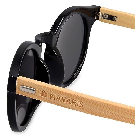 Navaris Clubmaster Sonnenbrille UV400 - Damen Herren Retro Holz Brille Holzoptik - Unisex Bambus Holzbrille mit Etui - Gläser in Neon Gelb 4stlctpH