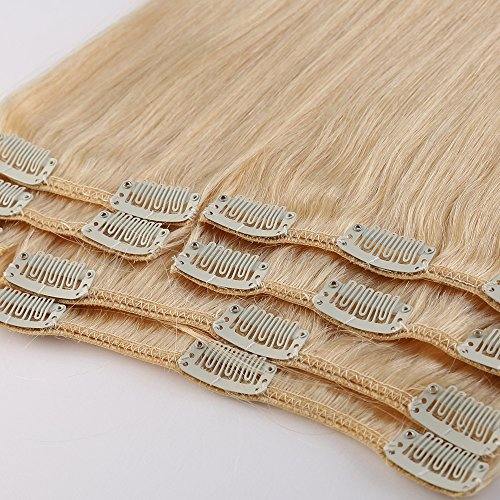 20 inch 105g Clip in Remy Human Hair Extensions Full Head 8 Pieces Set Long length Straight Very Soft Style Real Silky for Beauty #613 Bleach Blonde (Human Hair Clip In Extensions 20)