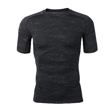 GKKXUE factory Ropa Deportiva para Hombres Medias Deportivas Estiramiento Camiseta de Manga Corta (Color : Negro, Tamaño : L): Amazon.es: Jardín