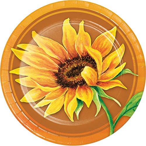 (Pack of 144 Yellow and Green Sunflower Themed Luncheon Plate)