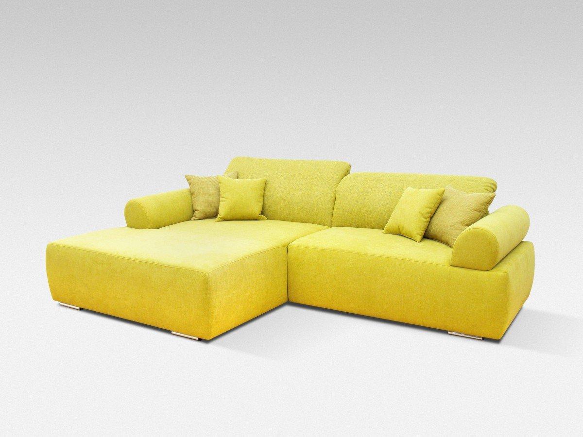 Dreams4Home Polstergarnitur, Ecksofa, 'Living', inkl. Rückenfunktion, senf, gelb, Webware, Polstermöbel, Couch, Aufbauvariante:Recamiere links davorstehend