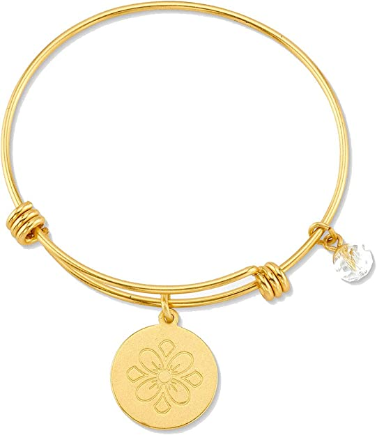 St Rose Of Lima Charm On A 7 1//2 Inch Round Double Loop Bangle Bracelet