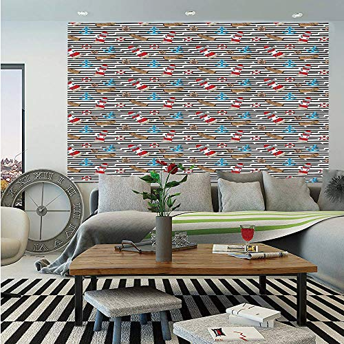 - Lighthouse Huge Photo Wall Mural,Sketch Style Cartoon Nautical Elements Anchors Life Buoys Boats Striped Backdrop Decorative,Self-adhesive Large Wallpaper for Home Decor 108x152 inches,Multicolor