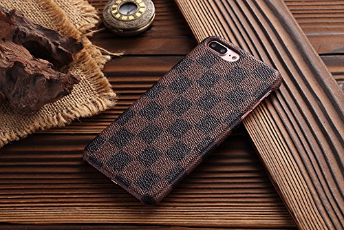 "Price comparison product image HeiL iPhone7 Plus TPU (US Deliver Guarantee Fulfilled by Amazon) New Elegant Luxury PU Leather Checker Pattern Classic Style Cover Case For Apple iPhone7Plus iPhone 7 PLUS 5.5"" (Brown)"