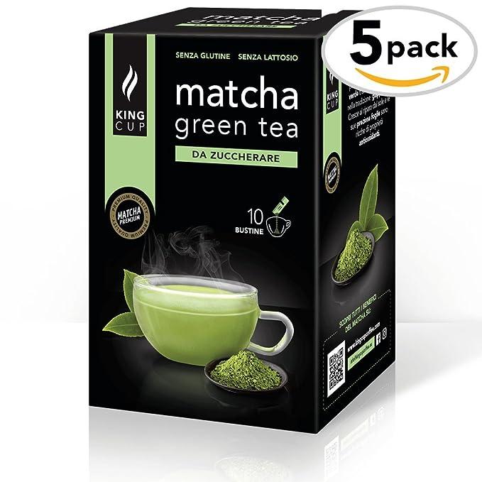 King Cup - Matcha Green Tea sin azúcar - 5 paquetes de 10 sobres Solubles (