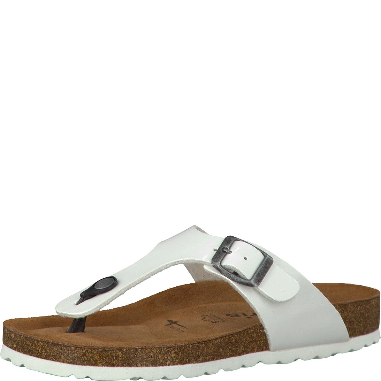 Tamaris 1-1-27104-30 Damen Zehentrenner, Sandale, Sandalette, Pantolette, Sommerschuhe fuuml;r Die Modebewusste Frau  40 EU|White Patent