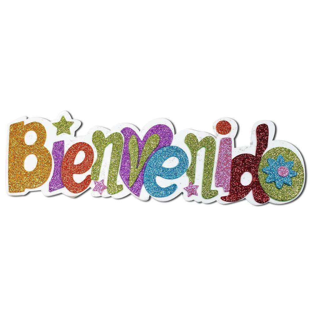 131438 CARTEL BIENVENIDO DE GOMA EVA CON PURPURINA: Amazon ...