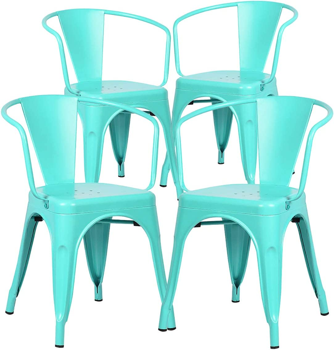 Poly and Bark Trattoria Modern Mid-Century Dining Kitchen Metal Side Arm Chair in Aqua Set of 4