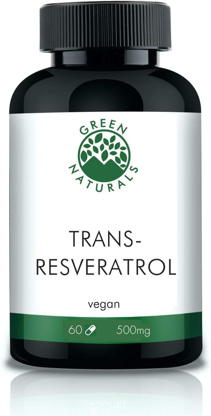 Resveratrol (60 cápsulas de 500mg) - 98% Extracto de raíz de Fallopia Japonica - Producción alemana - 100% Vegano y sin aditivos