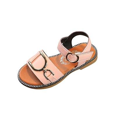 987622fd566c8 OHQ Enfants Fille MéTal Cercle DéCoration Sandales Princesse Chaussures  Blanc Noir Rose D éTé Infantile