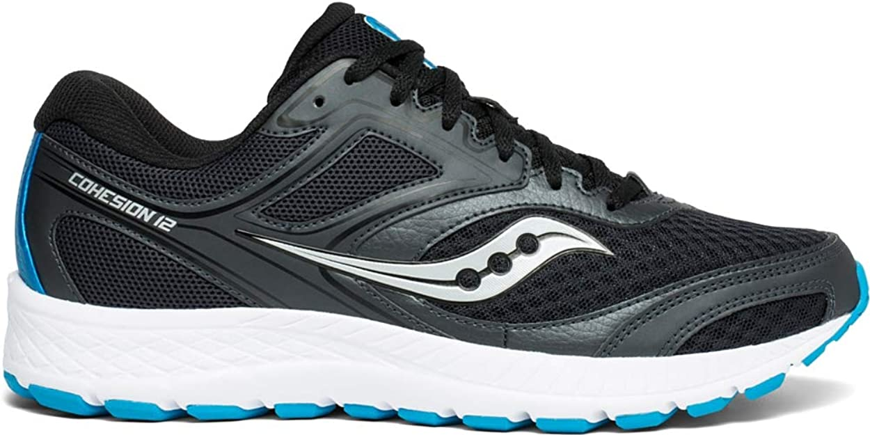 Saucony Men's VERSAFOAM Cohesion 12 Road Running Shoe Black/Blue 5 M US