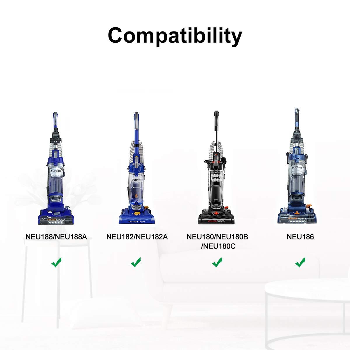 Replace Vacuum Part E0205 NEU180C 2 Pack Fits Model NEU180 NEU180B LANMU Replacement Vacuum Belt for Eureka PowerSpeed Lightweight NEU182A NEU186 NEU182 NEU188 /& NEU188A
