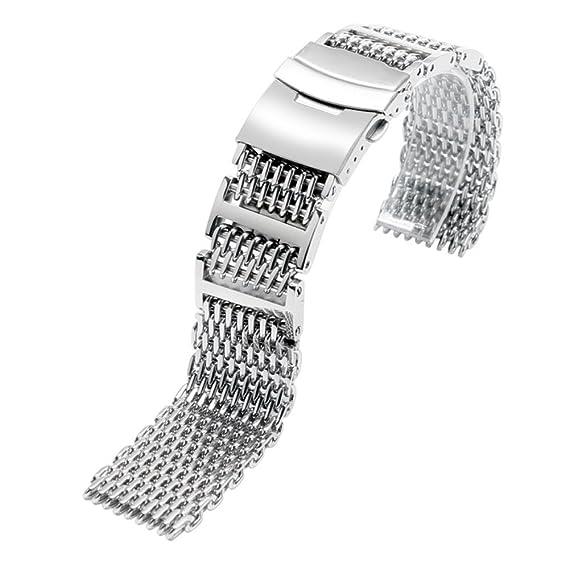 YISUYA sólido 316L acero inoxidable H-Link tiburón malla Correa de reloj de banda 20 mm ancho plata