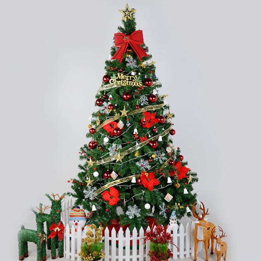 WT&WT Pre-lit Artificial Christmas Tree,hinged Easy Assembly Eco-Friendly Fir Xmas Tree with String Lights & Ornaments Metal Foldable Stand-red 6ft(180cm)
