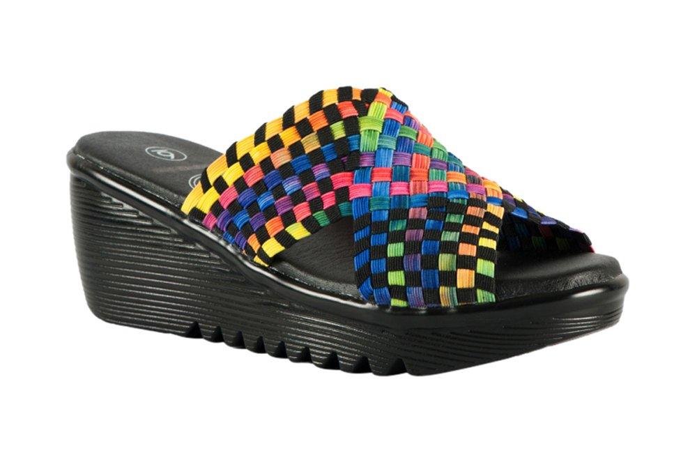 Heal USA Women's Ada Wedge Sandals Cross Brand Black Outsole B0178KQRU6 10 B(M) US|Multi-1