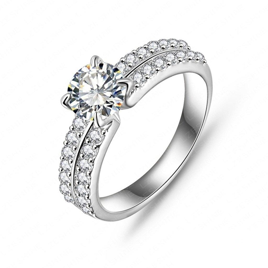 Daesar Joyería Anillo Compromiso de Plata Mujer, Brillantes Rialto con Diamantes Imitación Pavé Anillo de Eternidad, Tamaño 17 HPLZZL24TTM720