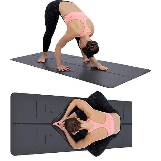 MINCHEDA Esterilla Yoga con Sistema de Alineación del Cuerpo ...