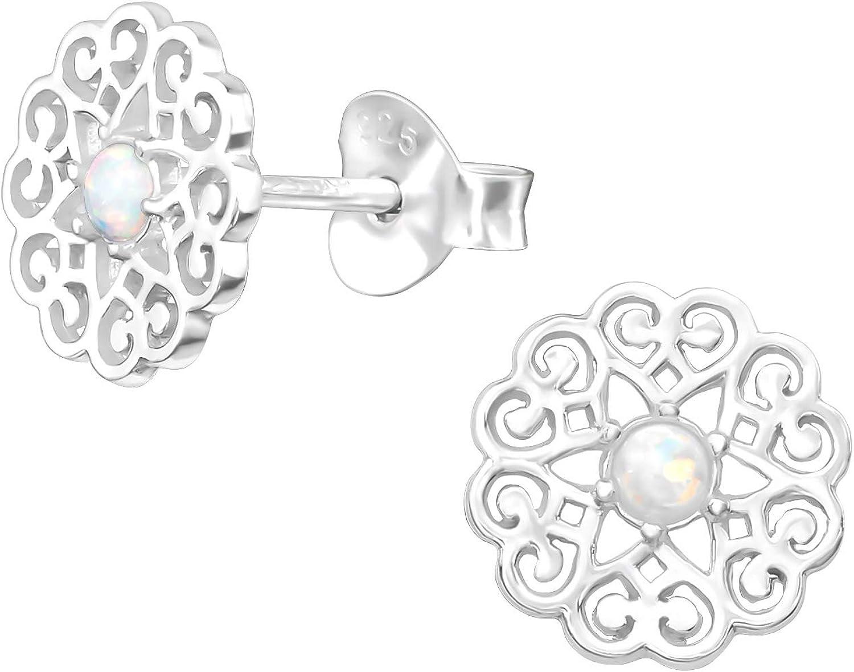 Silvinity SV-273 - Pendientes de plata de ley 925, redondos, planos, con piedras blancas de ópalo, para mujer