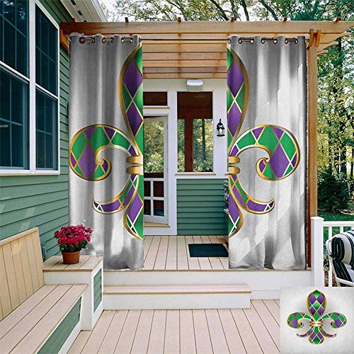 (leinuoyi Fleur De Lis, Outdoor Curtain Panels Set of 2, Gold Colored Lily Symbol with Diamond Shapes Royalty Theme Ancient Art, for Gazebo W96 x L96 Inch Gold Purple Green)