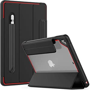 Timecity iPad 10.2 Case Compatible with iPad 8th Generation 2020/iPad 7th Generation 2019, Slim Lightweight Clear Back Smart Cover with Screen Protector Pen Holder Case for iPad 10.2 inch, Black/Red