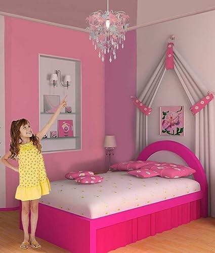 Unicorn Chandelier Children Bedroom Lamp Shade for Girls Nursery Decoration Pink Purple Silver with Shiny Pendants