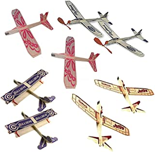 product image for Jetfire Glider Balsa Wood Airplane Kits by Guillows Bullseye Biplane - Sky Streak Airplane Wind Up Rubber Band Powered Toys Bundle for Kids with Sunny Glider Planes