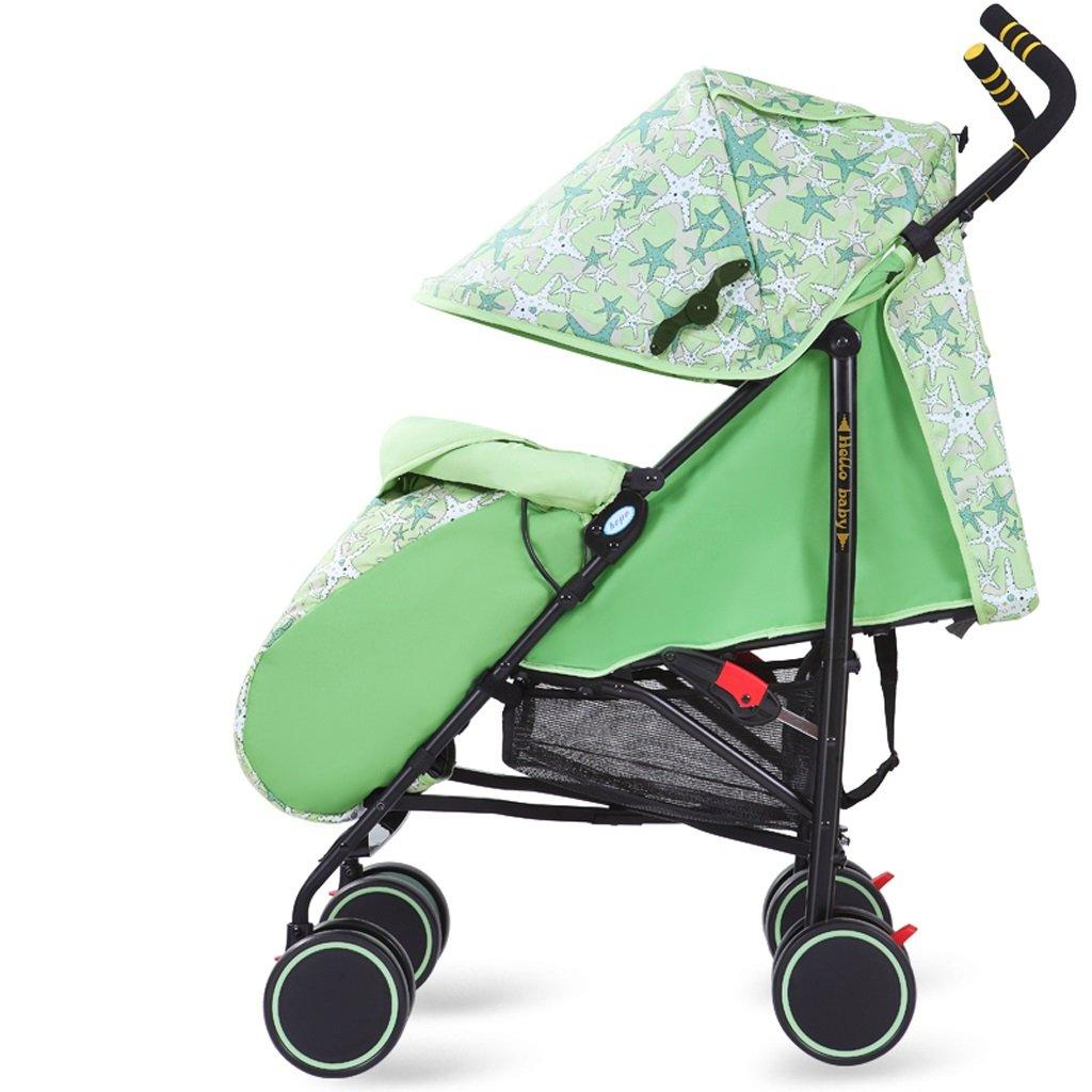 赤ちゃん用ベビーカー軽量イージーフィット折りたたみシットトゥゲザー子供用トロリー(グリーン)(パープル)61 * 102cm ( Color : Green ) B07BTSTG3Q