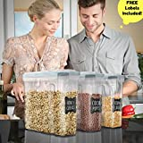 Shazo Premium Quality (Set of 3) Cereal & Dry Food Storage Container (16.9 Cup / 135.2oz) + FREE Chalkboard Labels - Airtight Lid - Suitable For Cereal, Flour, Sugar, Coffee, Rice, Snacks, Pet Food